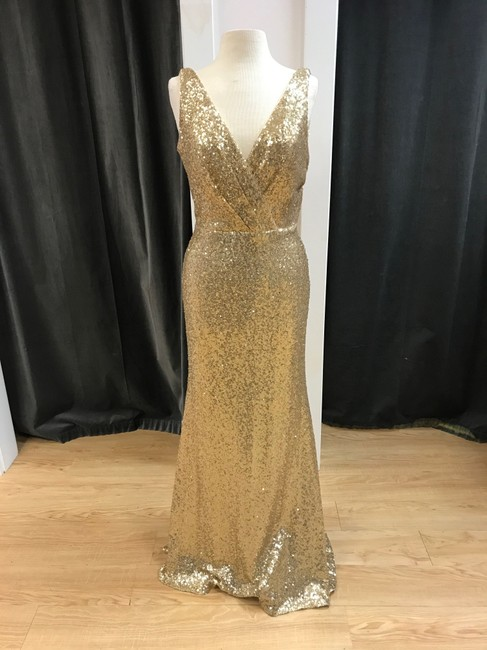 Item - Gold Sequin Avery Modern Bridesmaid/Mob Dress Size 12 (L)