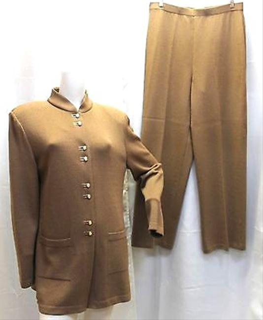 St. John St. John Collection by Marie Gray 3-Pc.Walnut Knit Pant Suit 14