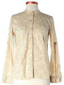MICHAEL Michael Kors Longsleeve Light-weight Button Down Shirt Beige & Gold