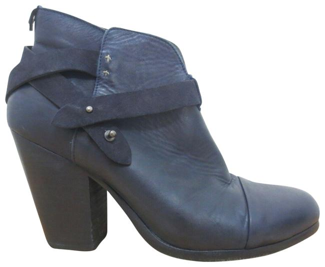 Item - Navy 41 / - Blue Harrow Leather Wrap Ankle Heeled Boots Pumps Size US 10 Regular (M, B)