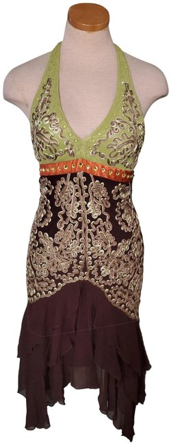 Item - Brown Green Nocturne Mid-length Night Out Dress Size 6 (S)