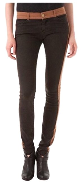 Item - Brown Distressed Two Tone Tuxedo Jeggings Size 26 (2, XS)