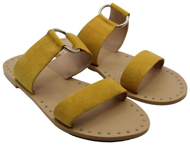 Item - Yellow Suede Studded Ring Slip On Sandals Size US 6.5 Regular (M, B)