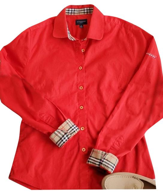 Item - Red Button-down Top Size 8 (M)