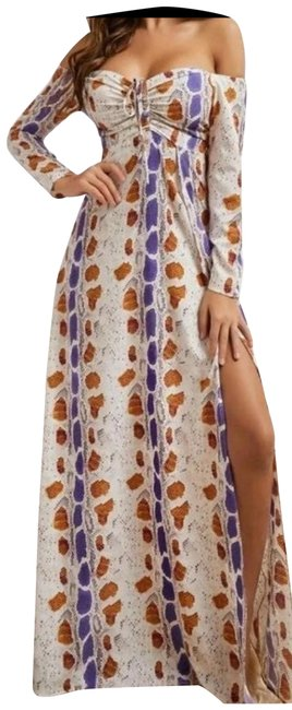 Item - White Brown Blue Off Shoulder Split Thigh Long Casual Maxi Dress Size OS (one size)