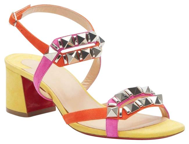 Item - Yellow Orange Pink Galerietta 55 Colorblock Suede Studded Spike Sandals Heel Mules/Slides Size EU 39.5 (Approx. US 9.5) Regular (M, B)
