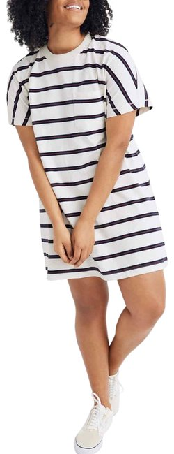 Item - White/Navy/Red Oversized Striped Tomboy T-shirt Short Casual Dress Size 00 (XXS)