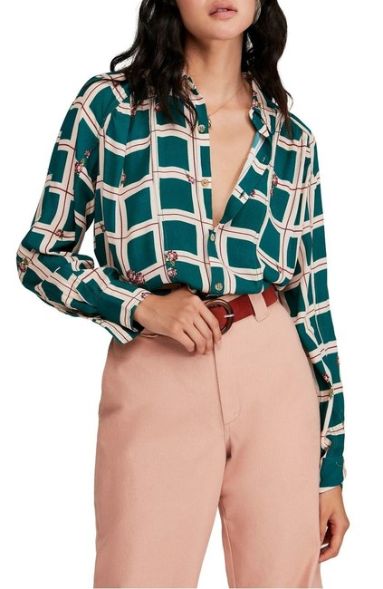 """Free People Green Combo """"Window To My Heart"""" Plunging Long-sleeve Blouse Button-down Top Size 8 (M) Free People Green Combo """"Window To My Heart"""" Plunging Long-sleeve Blouse Button-down Top Size 8 (M) Image 1"""