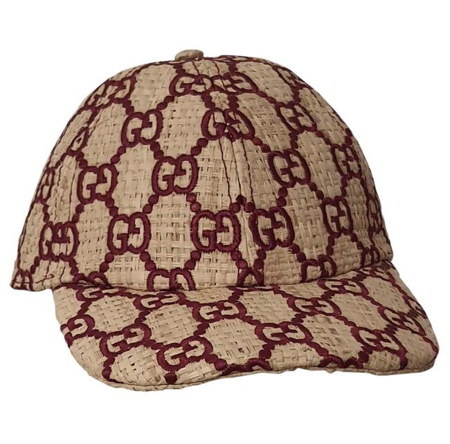 Item - Red Mesh Gg Embroidery Woven Raffia Hat
