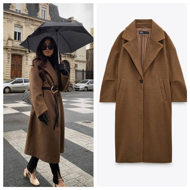 Item - Brown Oversized Camel Balloon Sleeves. Coat Size 8 (M)