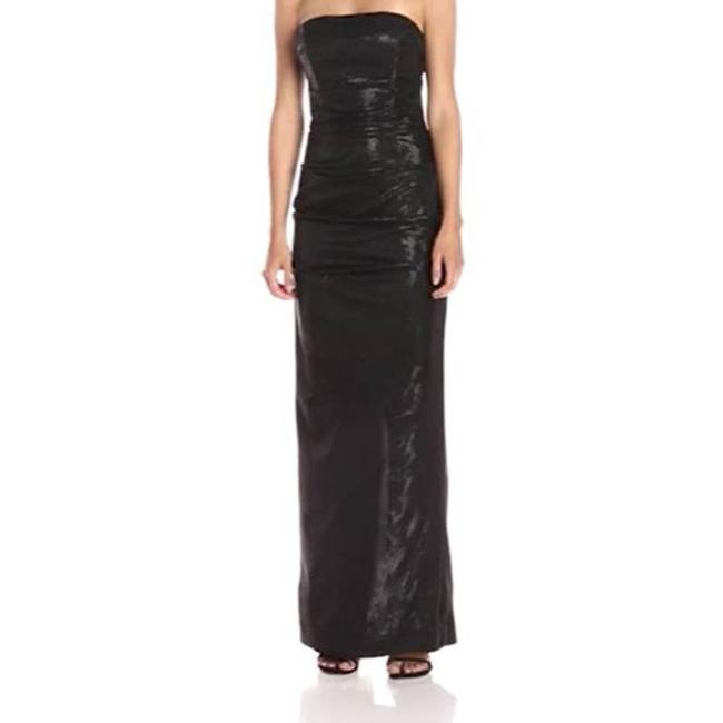 Item - Black Strapless Ruched Fitted Gown Shimmery 2 Long Formal Dress Size 10 (M)