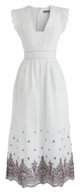 Item - White W/Red Embroidered Point Sur Cotton W/Embroidery Mid-length Casual Maxi Dress Size 4 (S)