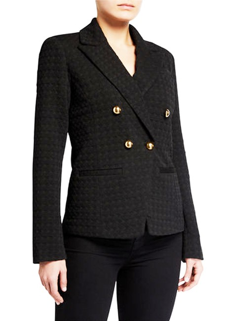 Item - Black Ponte Double Breasted Houndstooth Fitted Style No. 67637 Blazer Size 10 (M)