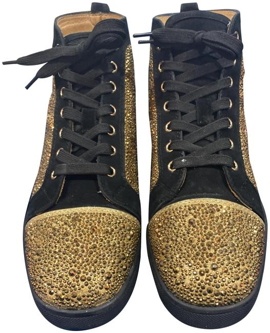 Christian Louboutin Black Gold & Crystal Coated Sneakers Size EU 41.5 (Approx. US 11.5) Regular (M, B) Christian Louboutin Black Gold & Crystal Coated Sneakers Size EU 41.5 (Approx. US 11.5) Regular (M, B) Image 1