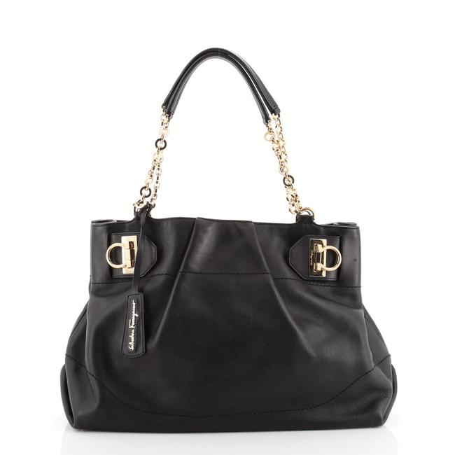 Item - W Chain Large Black Leather Tote
