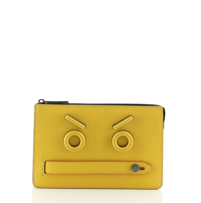 Item - Faces Pouch Medium Yellow Leather Clutch
