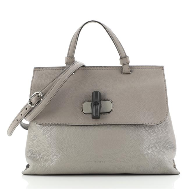 Item - Bamboo Daily Top Handle Small Gray Leather Cross Body Bag