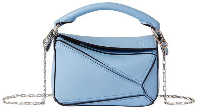 Item - Shoulder Puzzle Nano Textured-leather Blue Leather Cross Body Bag