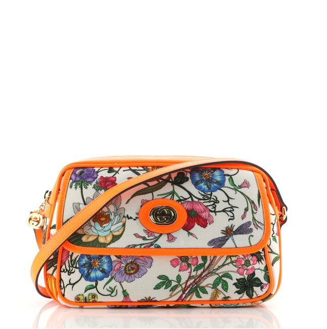 Item - Flora Small Green Orange Print Canvas Shoulder Bag