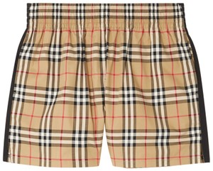 Item - Beige Striped Checked Cotton-blend Shorts