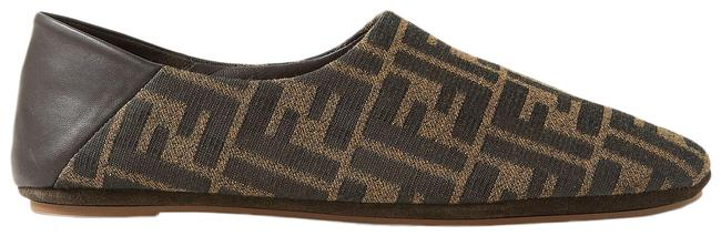 Item - Brown Leather-trimmed Canvas Collapsible-heel Slippers Flats Size EU 36 (Approx. US 6) Regular (M, B)