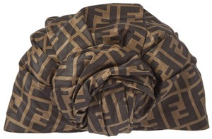 Item - Brown Printed Silk Turban Hat