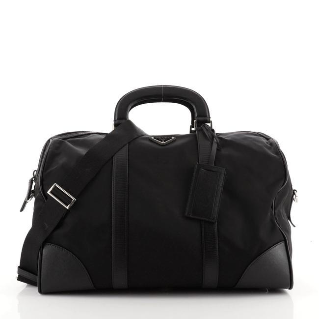Item - Convertible Tessuto with Saffiano Medium Black Leather Nylon Weekend/Travel Bag