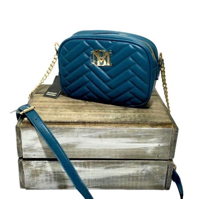 Item - Quilted Camera Green Blue Teal Faux Leather Cross Body Bag