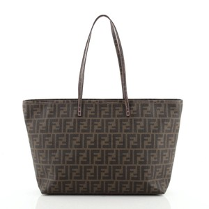 Item - Roll Zucca Large Brown Coated Canvas Tote