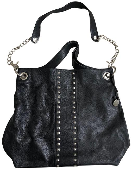 Item - Bag Studded Convertible Black Leather Tote