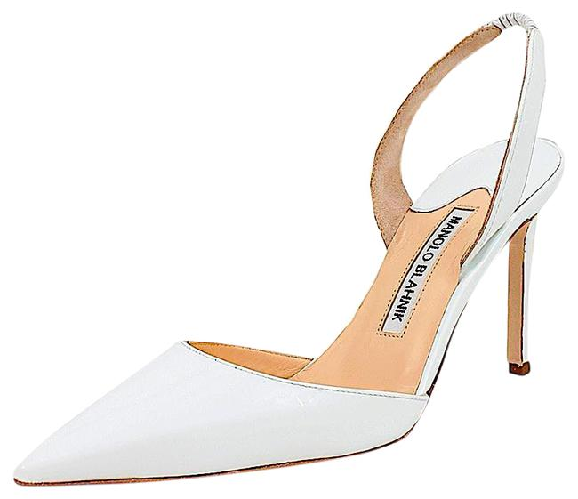 Item - White New 'carolyne' Pointy Toe Slingback In Patent Pum Pumps Size EU 38 (Approx. US 8) Regular (M, B)