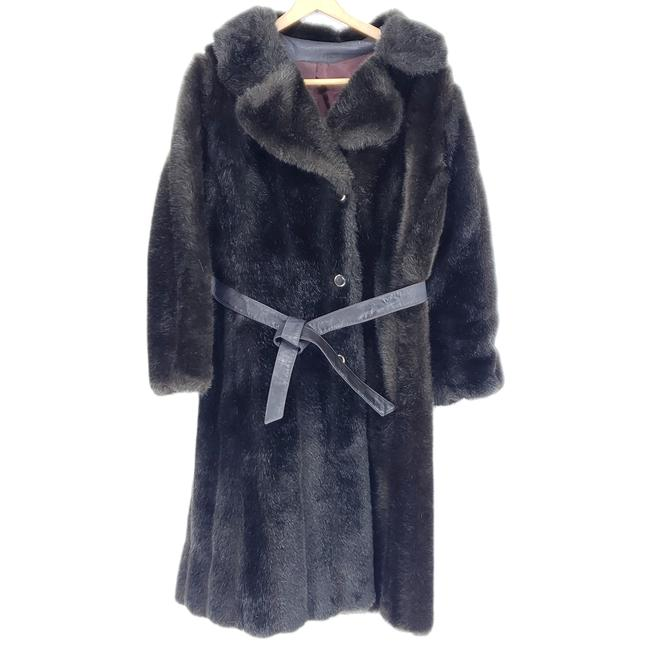 Item - Brown 50s Or 60s Faux Long Dark Fully Lined Med Coat Size 8 (M)
