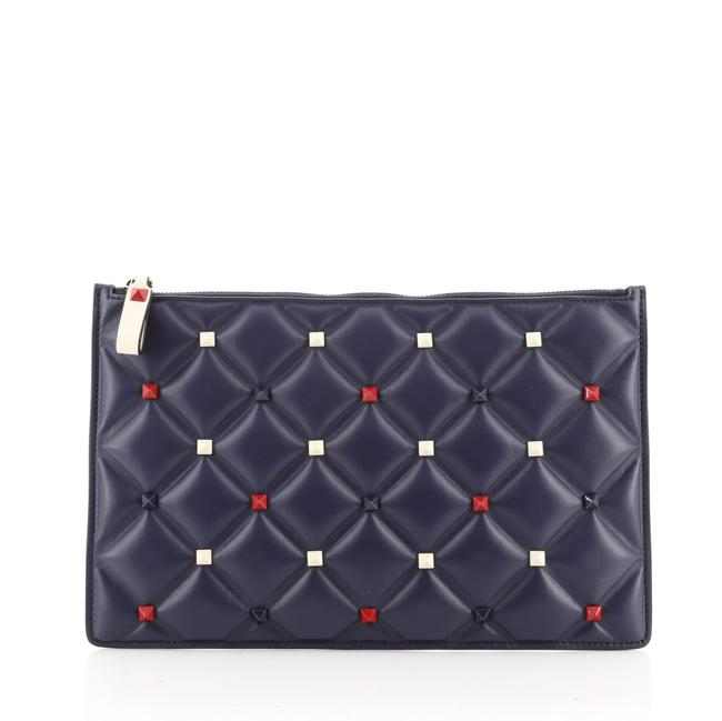 Item - Candystud Zip Pouch Large Blue Leather Clutch