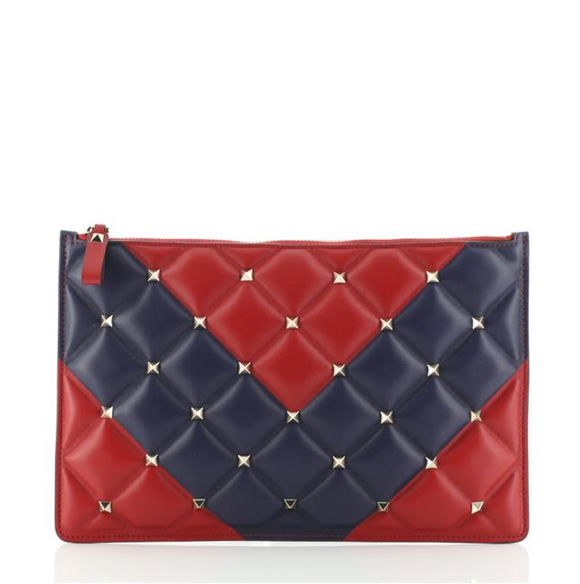 Item - Candystud Zip Pouch Large Blue Red Leather Clutch