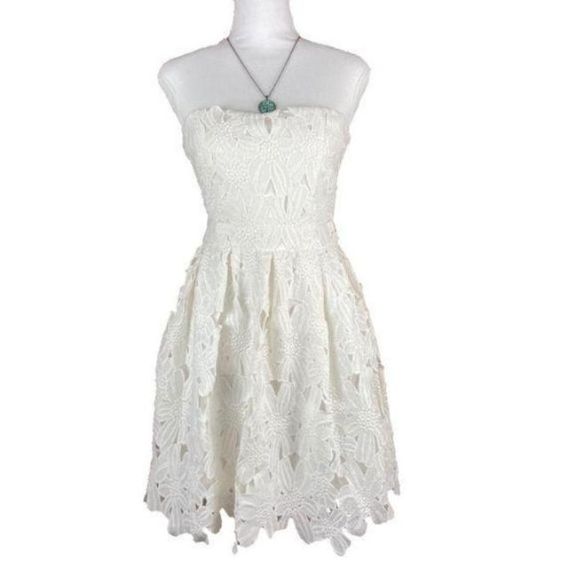 Item - White Strapless Mid-length Short Casual Dress Size 4 (S)