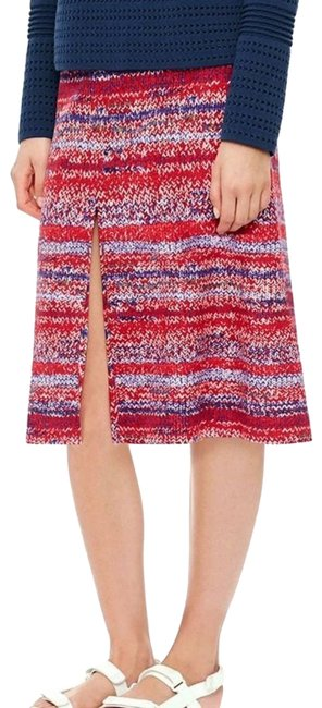 Item - Red Printed Stripe Silk A-line Skirt Size 4 (S, 27)