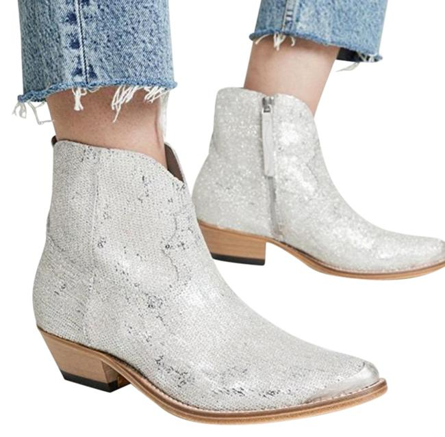 Item - Silver Young Glitter Sequin Boots/Booties Size EU 36 (Approx. US 6) Regular (M, B)