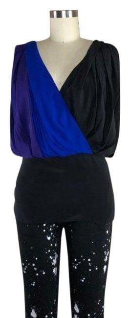 Item - Purple Silk V Neck Power Draped Gathered Blouse Size 2 (XS)
