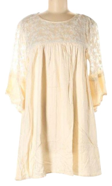 Item - Cream White Tunic Lace Short Casual Dress Size 8 (M)