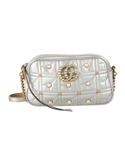 Item - GG Shoulder Mini Marmont Quilted Pearl 2.0 Silver Leather Cross Body Bag