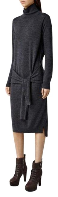 Item - Gray Tricot Knot Wrap Turtleneck Mid-length Casual Maxi Dress Size 0 (XS)