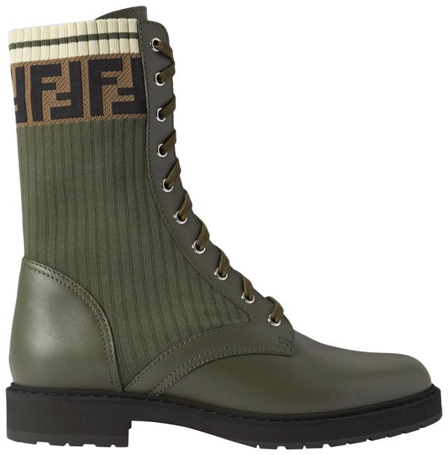 Item - Army Green Ff Motif Monogram Logo-jacquard Stretch-knit and Leather Ankle Boots/Booties Size EU 35 (Approx. US 5) Regular (M, B)
