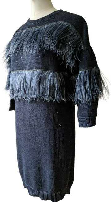 Item - Gray W Knit W/Sequins+beads+ostrich Feathers M A181 Long Cocktail Dress Size 8 (M)