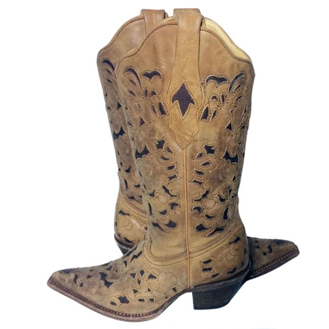 Item - Brown 1961 Black Leather Engraved Floral Cowgirl Boots/Booties Size US 6 Regular (M, B)