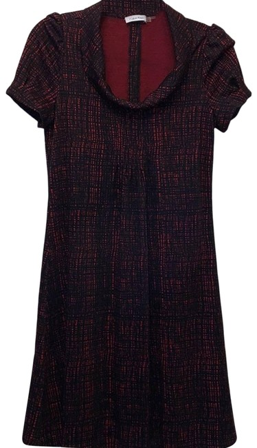 Item - Black Red and Sleeve Midi Short Casual Dress Size 6 (S)