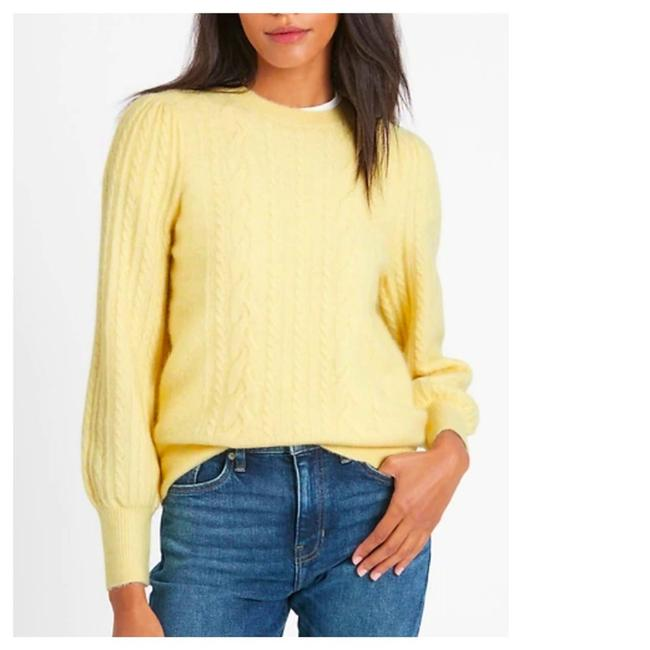 Item - L Cable Knit Puff Sleeve Alpaca Wool Yellow Sweater