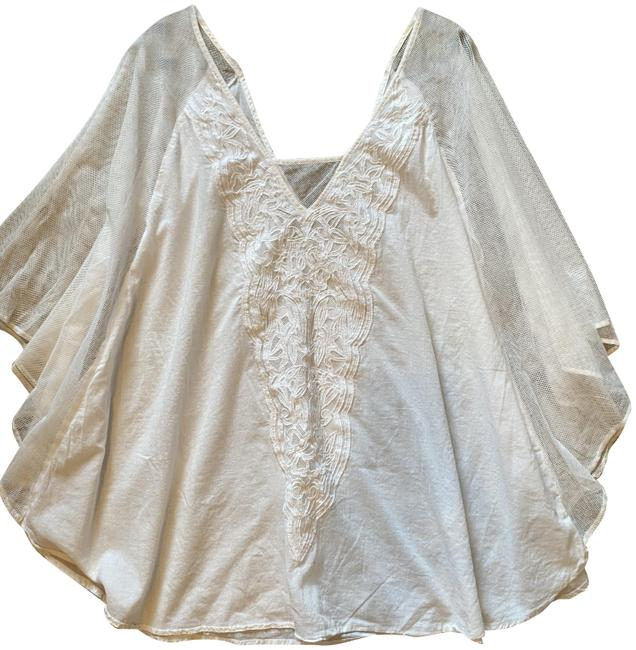 Item - White Flowy Embroidered Cover-up/Sarong Size 8 (M)