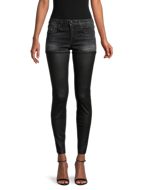 Item - Black Distressed Leather Chaps 26 Skinny Jeans Size 2 (XS, 26)
