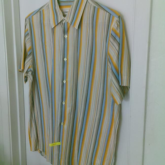 Item - Creme Multi-color Stripe All Cotton Men's Button Down Shirt