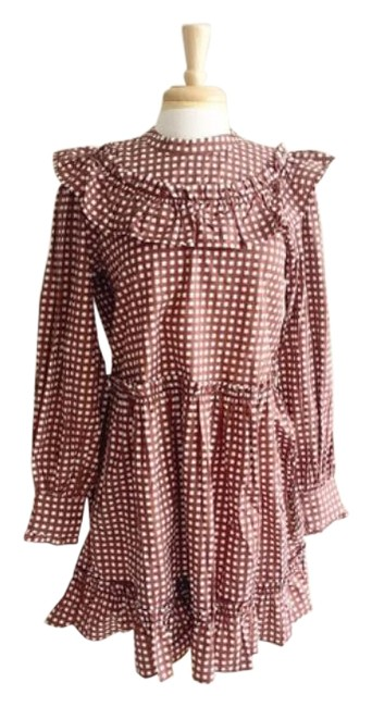 Anthropologie Brown White L Penny Gingham Mini Ruffle Short Casual Dress Size 12 (L) Anthropologie Brown White L Penny Gingham Mini Ruffle Short Casual Dress Size 12 (L) Image 1